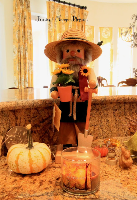 Rustic Fall decor with a nutcracker