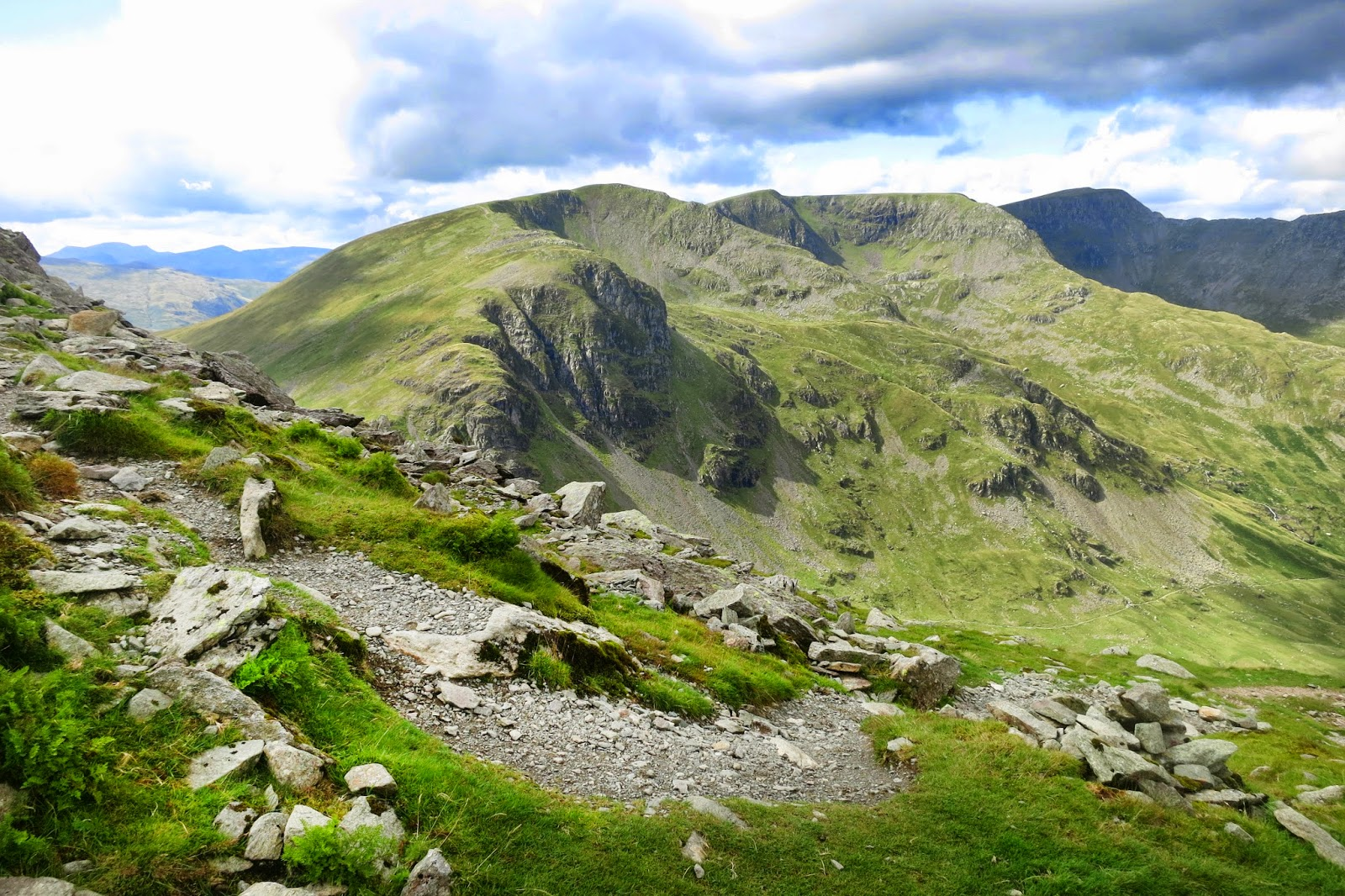 Dollywagon Pike, Nethermost Pike - with Helvellyn and striding edge in the far distance.