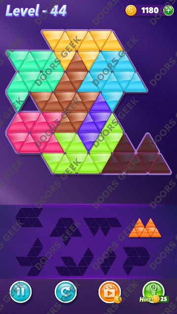 Block! Triangle Puzzle 8 Mania Level 44 Solution, Cheats, Walkthrough for Android, iPhone, iPad and iPod