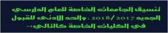 تنسيق الجامعات الخاصه 2017 والحد الادنى للقبول بالكليات الخاصه 2018