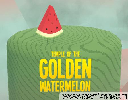 Você é uma fatia de melancia. Você não tem mãos, mas é doce e suculento e nunca desiste. Você viajou muito para alcançar este templo escondido. Encontre a melancia dourada.