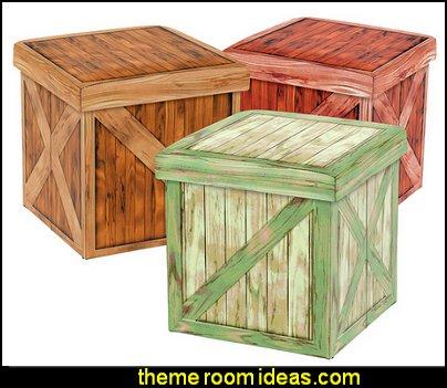 Vintique Folding Storage Ottoman