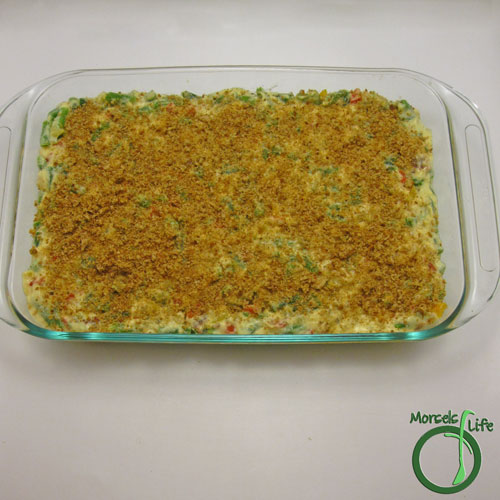Morsels of Life - Cheesy Green Bean Casserole Step 13 - Top with bread crumbs (or even better - onion strings) and bake at 350F for 30 minutes.