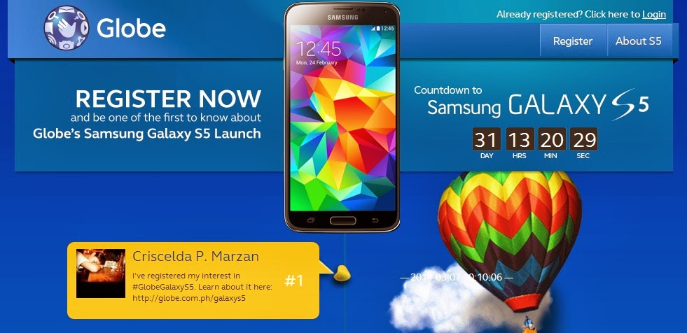 Globe pre-order page for the Samsung Galaxy S5