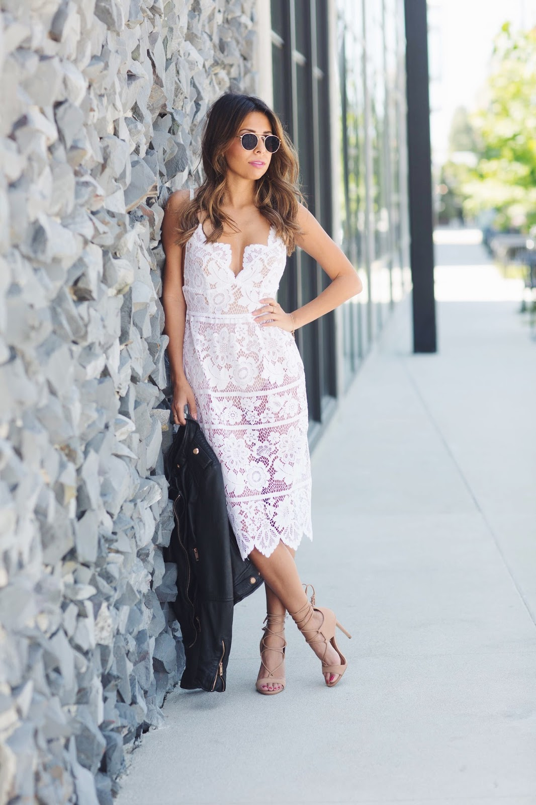 white lace dress, for love and lemons, lace with leather, pursuit of shoes