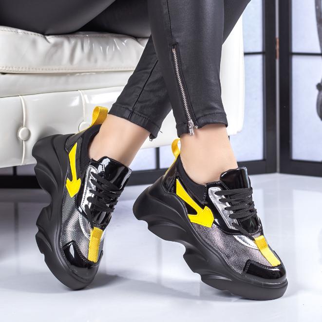 Adidasi femei 2020 negri moderni cu talpa groasa la pret mic