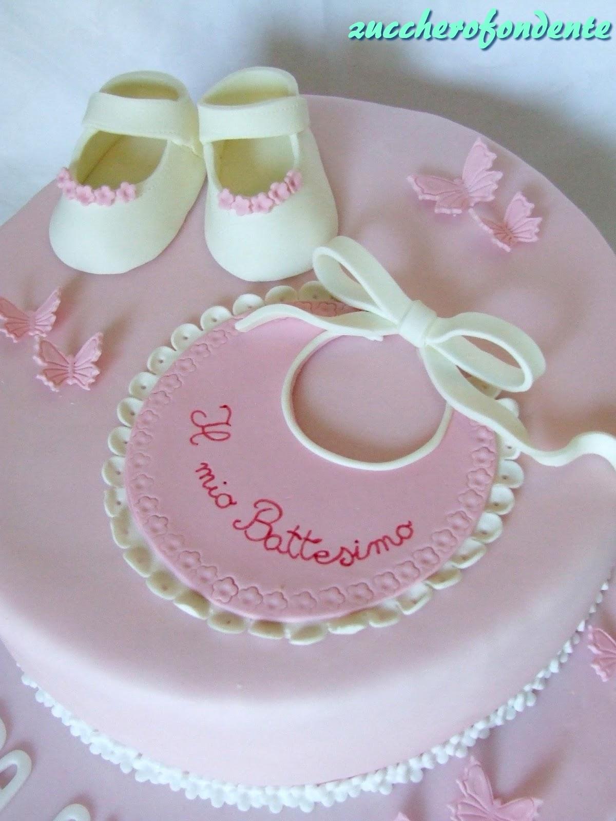 Zuccherofondente torta battesimo con scarpine - Decorazioni per battesimo bimba ...