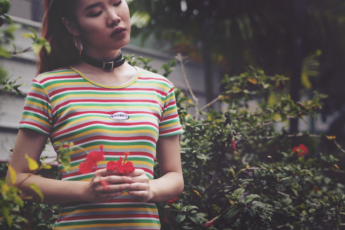 Brunei Blogger May Cho, hibiscus, tumblr, color, experimental, ,80s, vintage