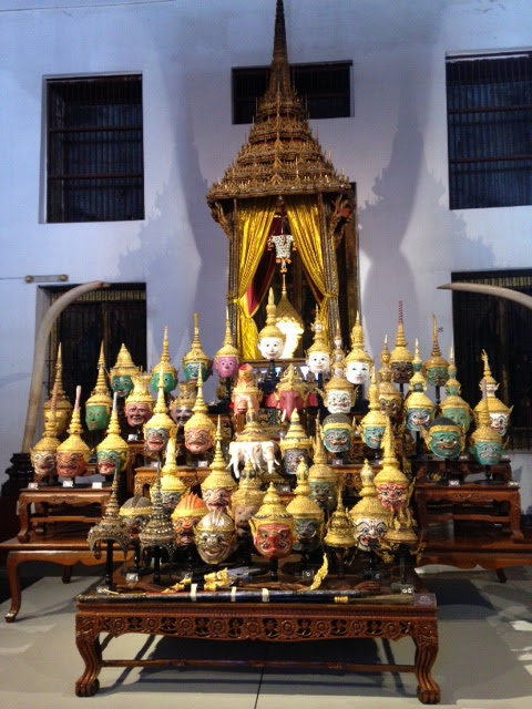 Thai opera khon masks on display bangkok national museum