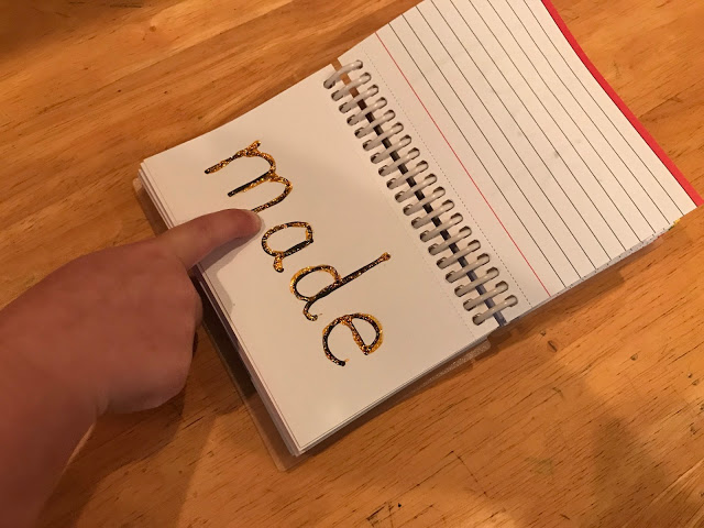 Tactile sight word book using glitter glue