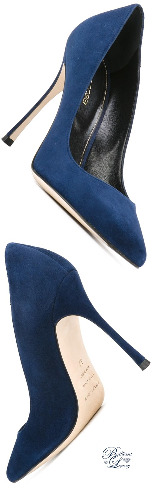Brilliant Luxury ♦ Sergio Rossi Velours Stiletto Pumps #blue