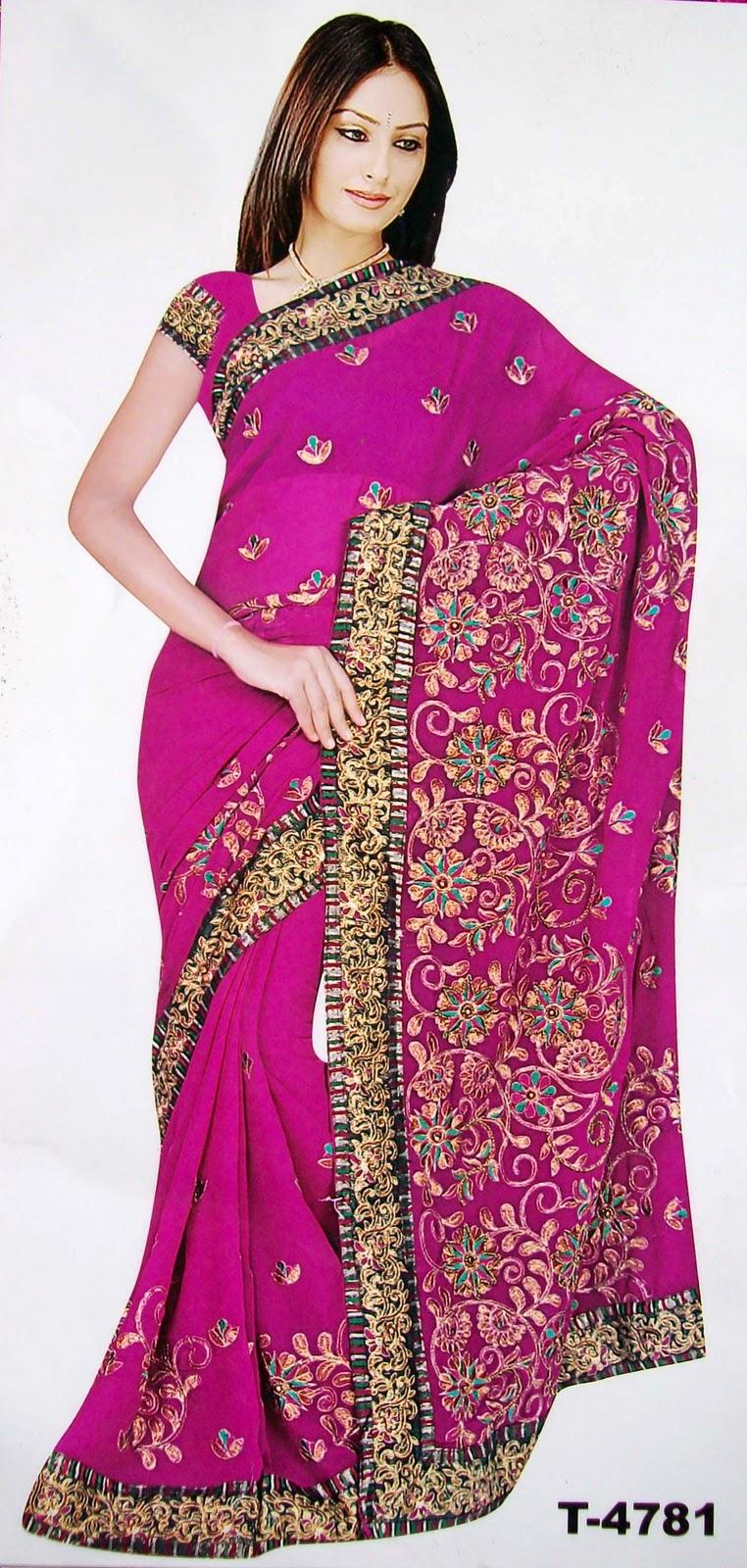 Pink Saree: BOLLYWOOD SARI ROSA SARI INDIAN SAREE DESIGNER SAREE BELLY