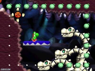 Yoshi combatiendo al dragón esqueleto de 3 cabezas