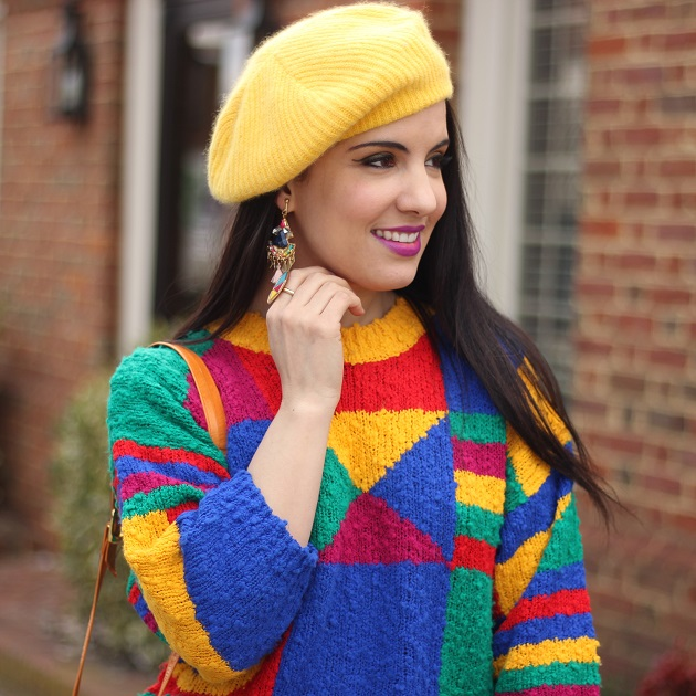 Abstract Print Colorful Sweater