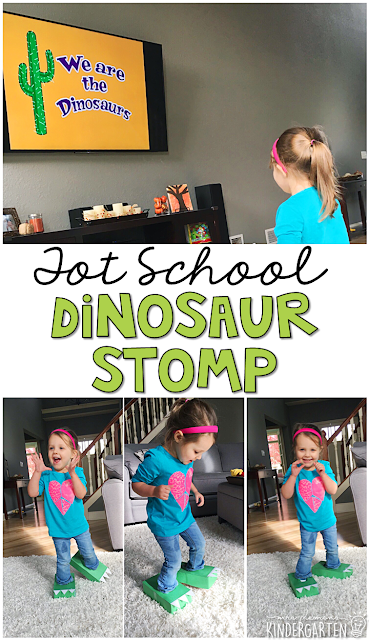 Learning is more fun when it involves movement! We Are the Dinosaurs is one of our favorite movement songs, and it went perfectly with this Dinosaur Stomp gross motor activity. Great for tot school, preschool, or even kindergarten!