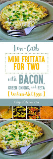 Low-Carb Mini Frittata for Two with Bacon, Green Onions, and Feta found on KalynsKitchen.com