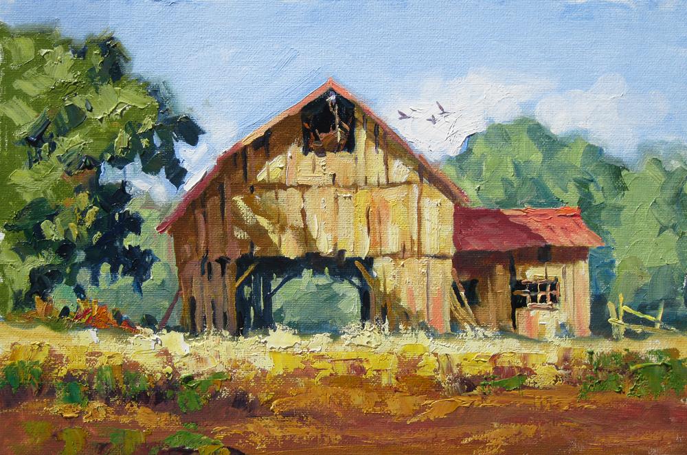 TOM BROWN FINE ART: AN OLD BARN SCENE by TOM BROWN