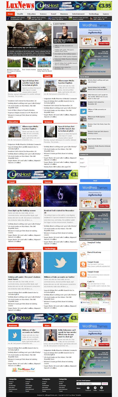 LuxNews Template tin tức miễn phí chuyên nghiệp cho Blogspot