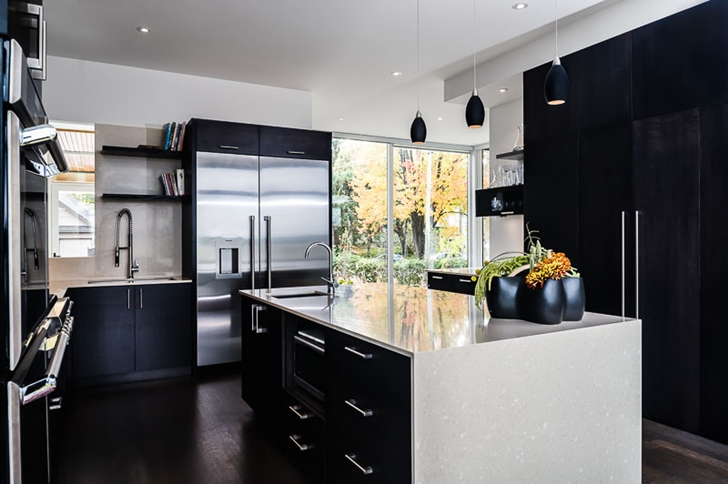 Black kitchen in Amazing Ottawa River House by Christopher Simmonds Architect