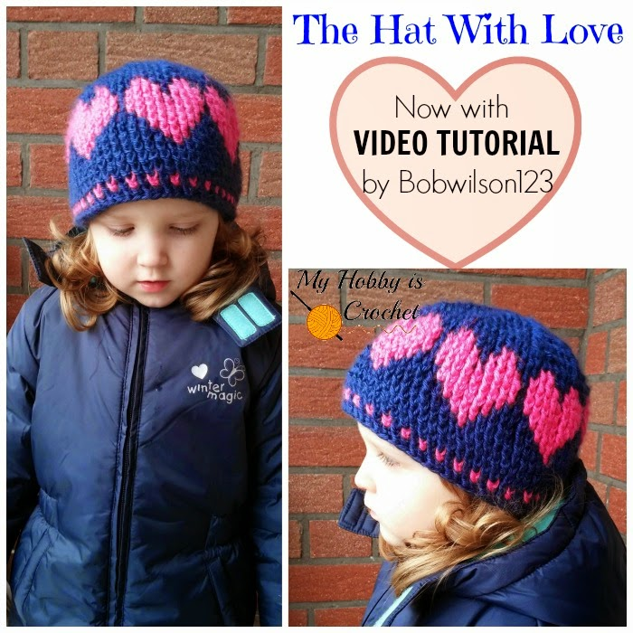 A Hat With Love - Free Crochet Pattern with Video Tutorial and Graph on myhobbyiscrochet.com