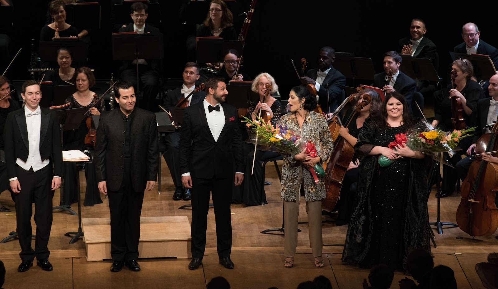 IN REVIEW: Washington Concert Opera 30th Anniversary Concert celebrants - from left to right, tenor JONAS HACKER, baritone JAVIER ARREY, tenor MICHELE ANGELINI, mezzo-soprano VIVICA GENAUX, and soprano ANGELA MEADE [Photo by Don Lassell, © by Washington Concert Opera]