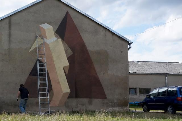 Street Art Mural By Jacyndol In Parchowo, Poland. - Progress