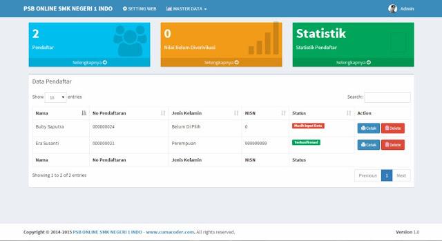 Aplikasi Penerimaan Siswa Baru dengan Sistem Ranking
