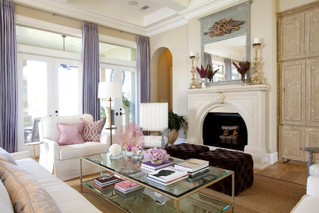 lavender and pink living room decorating