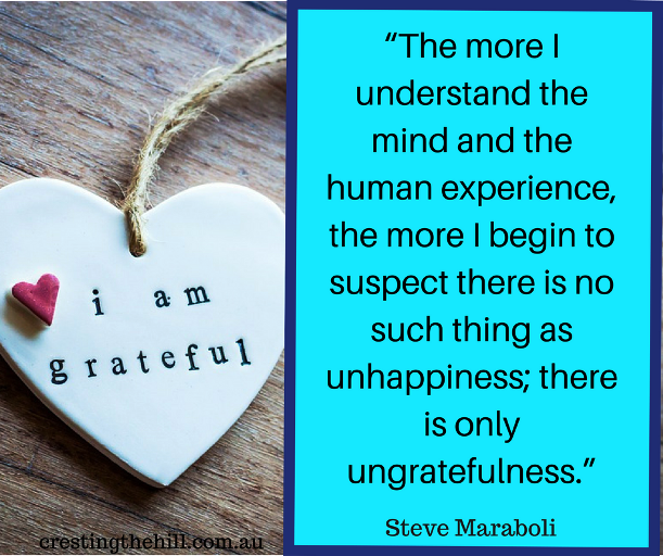The more I understand the mind and the human experience, the more I begin to suspect there is no such thing as unhappiness; there is only ungratefulness