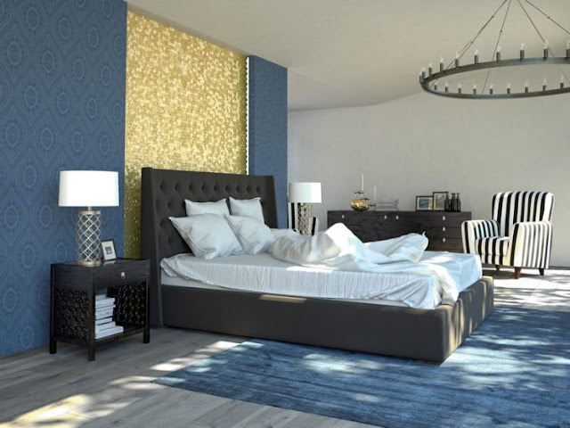Sleek Blue Bedroom