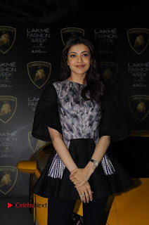 Actress Kajal Aggarwal Stills in Black Dress at Lakme Fashion Week Summer Resort 2017  0004.jpg