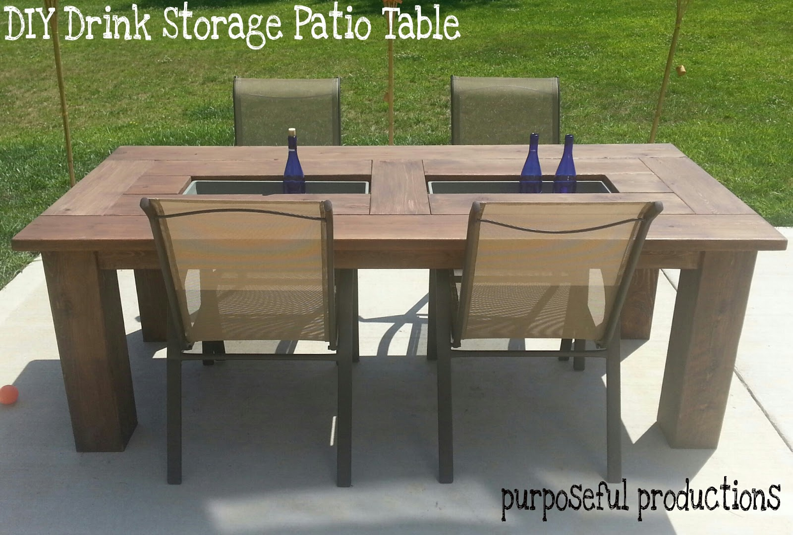 Purposeful Productions: DIY Wood Patio Table with Drink ...