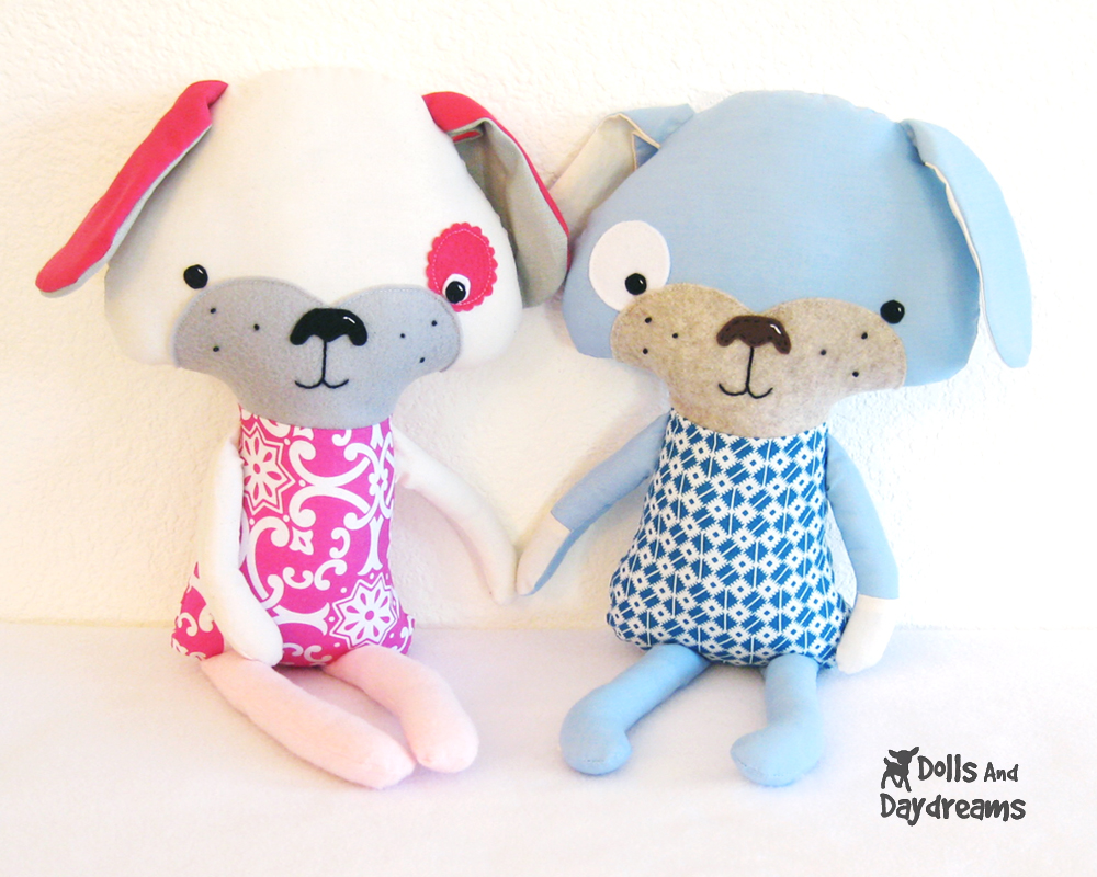 Dolls and daydreams doll and softie pdf sewing patterns puppy puppy dog softie stuffed toy sewing pattern finished hooray jeuxipadfo Choice Image