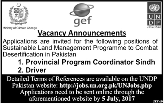 Coordinator, Drivers Jobs in Ministry Of Climate Change Sindh 23 June 2017.