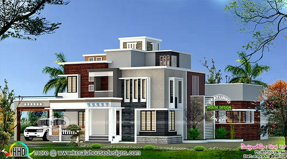 4 bedroom modern box model 2500 sq-ft home in Kerala