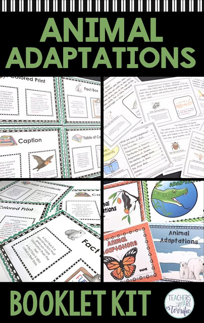 Create a booklet with your students showcasing animal adaptations. The booklet includes nine reading passages for which students write their own version. Each page also uses non-fiction text features that students identify! Fabulous study of animals, writing, and text features.