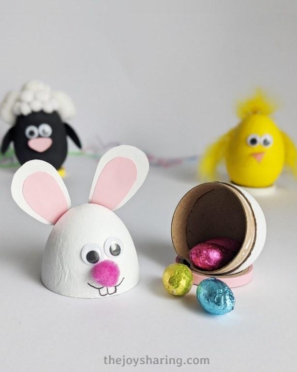Cardboard eggs for Easter egg hunt.