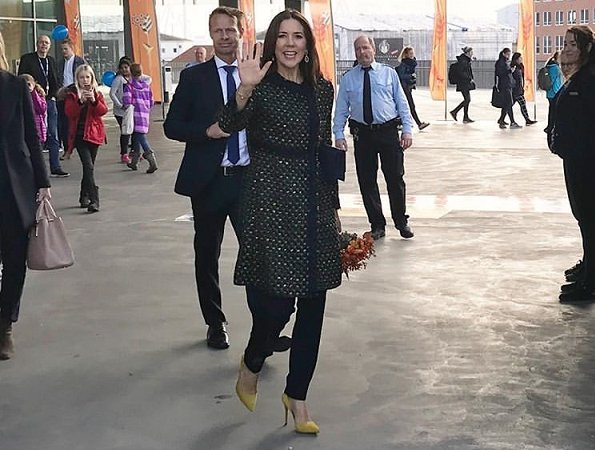 Crown Princess Mary wore Prada Coat, Gianvito Rossi Pumps and carried Quidam Alligator Clutch