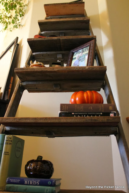 repurposed, ladder, shelf, Beyond The Picket Fence, http://bec4-beyondthepicketfence.blogspot.com/2013/10/ladder-shelf.html