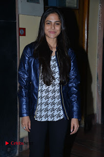 Actress Nanina Ganguly Stills in Black Tights with Vangaveeti Movie Team at Devi Theater  0003.JPG