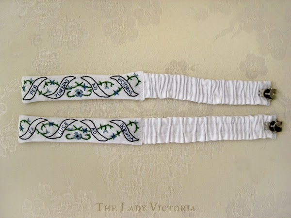 embroidered garters finished