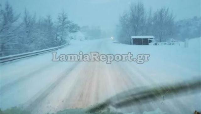 Πυκνό χιόνι στη Φθιώτιδα - Κλειστά τα σχολεία στο Δομοκό