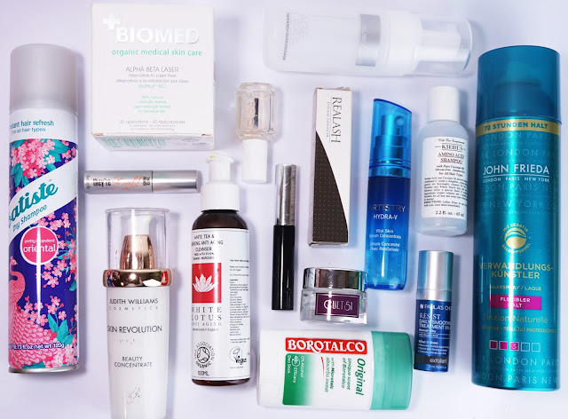Aufgebrauchte Kosmetik (September 2016) Batiste, Judith Williams, benefit, White Lotus, Realash, John Frieda, Artistry, Kiehl's, Borotalco, Paula's Choice