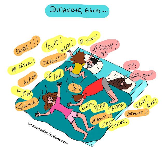 dessin illustration humour famille bd réveil dimanche matin enfants parents maman