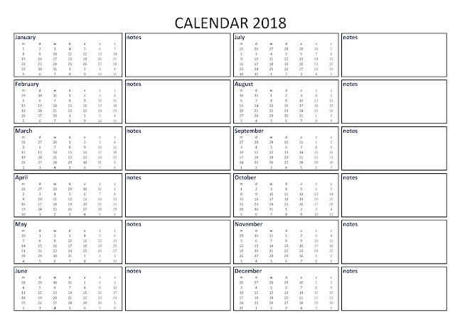 2018 Calendar, 2018 Printable Calendar, 2018 Blank Calendar, 2018 Calendar Printable, 2018 Calendar Template, 2018 Yearly Calendar, 2018 Holiday Calendar, Calendar 2018