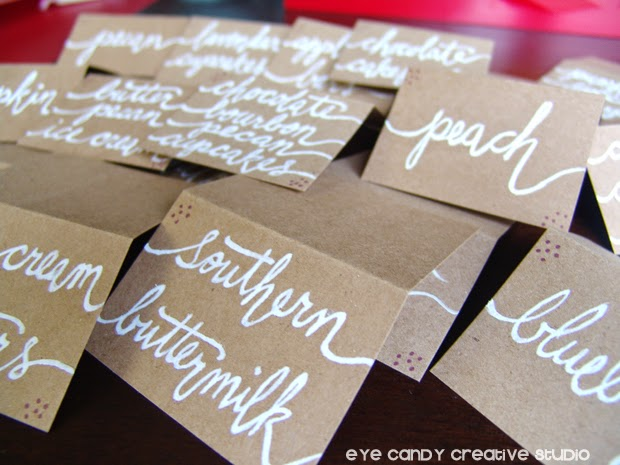 white calligraphy ink, kraft paper tabletents, hand lettering