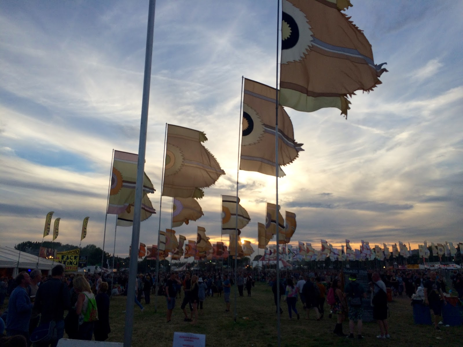 Glastonbury Festival Flags flying in the breeze