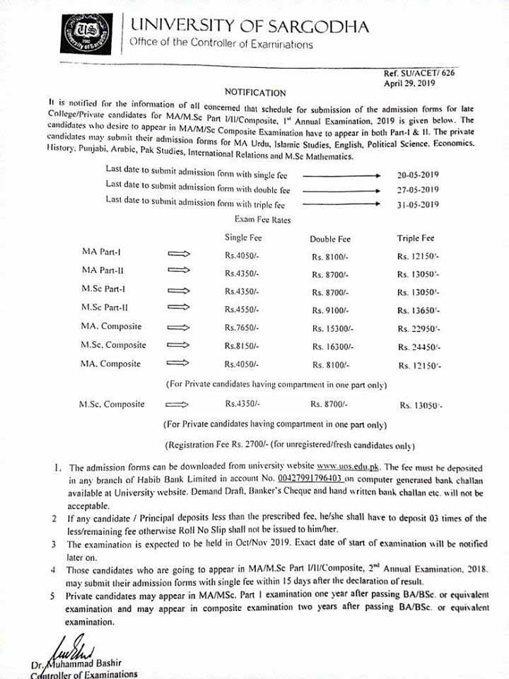 Schedule of Admissions of MA / M Sc Sargodha University 2019