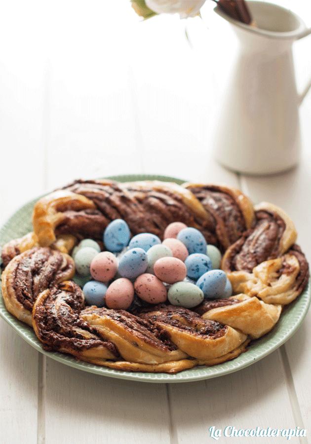 Trenza de Pascua de chocolate y hojaldre