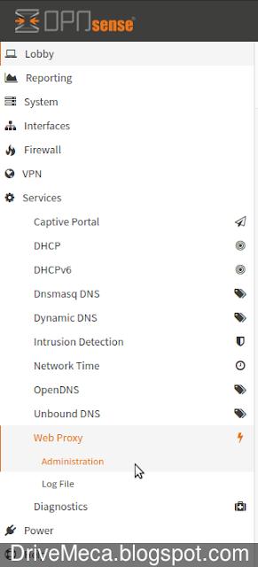 Damos click a Web Proxy dentro de Services